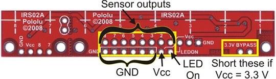 qtr-8a 8′li kızılötesi sensör - analog - pl-960 pin bağlantı şeması 2